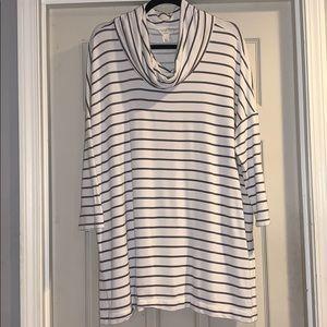 LOFT Lounge White & Grey Stripe Cowl Neck Top XL